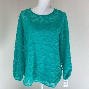 Alfani Blouse Size M Green CozumelFresh Petal